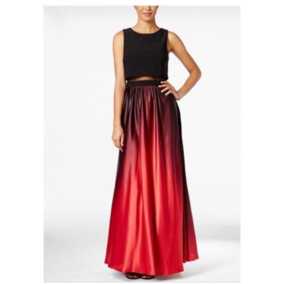 Betsy & Adam Dresses | Black To Red Gradient Prom Dress | Poshmark